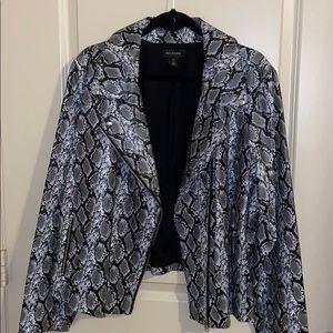 Plus Size Black and Grey Snake Print Moto Jacket